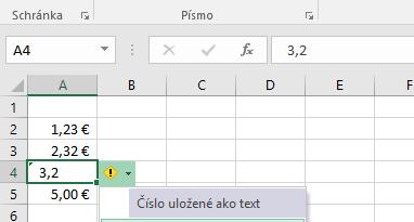 V bunke mám číslo, ale Excel má problém s formátovaním