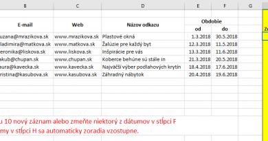 Ako automaticky zoradiť dáta podľa dátumu pri každej zmene?
